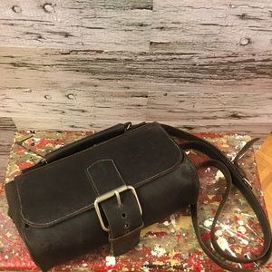Brown Raw Leather Boho Crossbody Bag with Buckle
